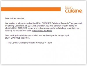 The End of Lean Cuisine Delicious Rewards